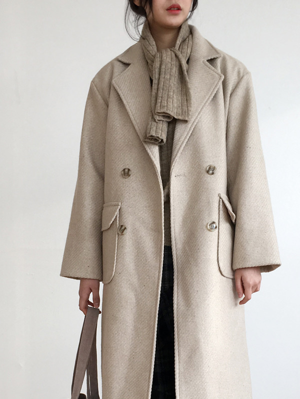 맥 Beige double coat - wool 80% (누빔)