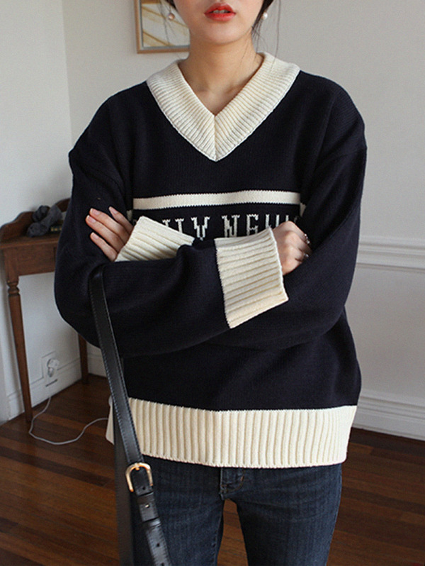 레터링 knit - 2 color