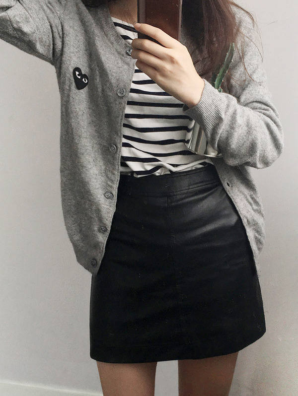 [2/21일 발송] leather H _skirt