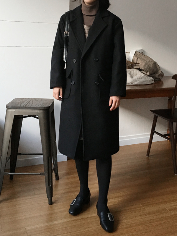 맥 Black double coat - wool 80% (누빔♡)