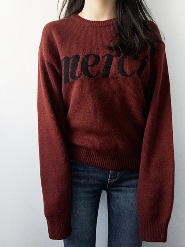 Merci ! Knit (2 color) - wool 70%