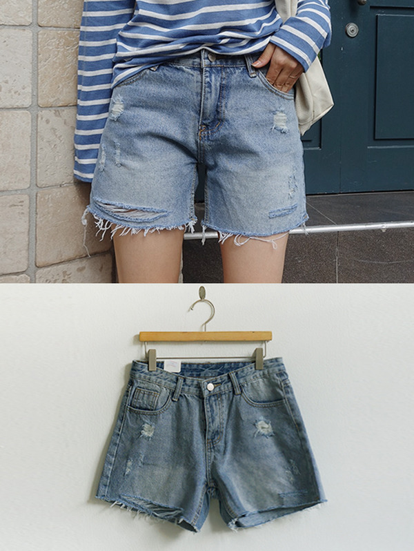 브러쉬 denim shorts